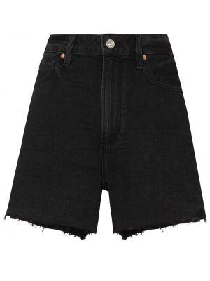Хлопковые джинсовые шорты с завышенной талией на молнии Paige