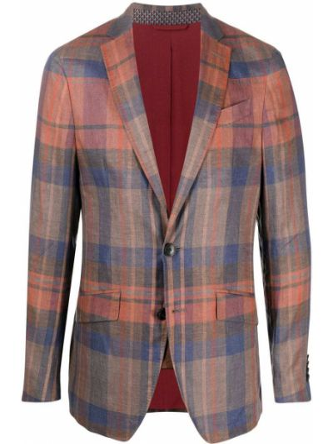 Льняной малиновый удлиненный пиджак с карманами Etro