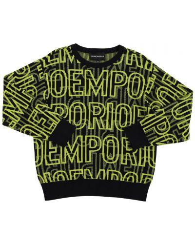 Prążkowany czarny sweter bawełniany Emporio Armani
