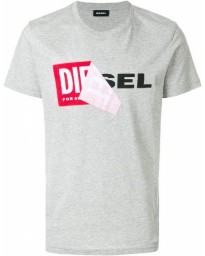 Серая хлопковая футболка с логотипом Diesel