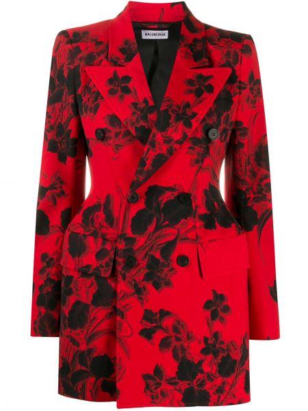 Красный удлиненный пиджак двубортный с карманами Balenciaga