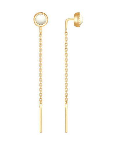 Серебряные серьги золотые удлиненные Sokolov
