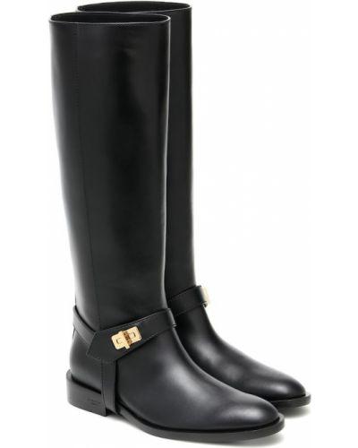 Czarny wysoki buty z prawdziwej skóry w połowie kolana Givenchy