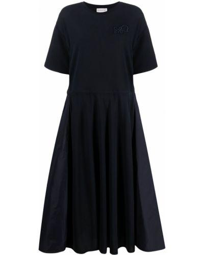 Хлопковое с рукавами синее платье миди Moncler