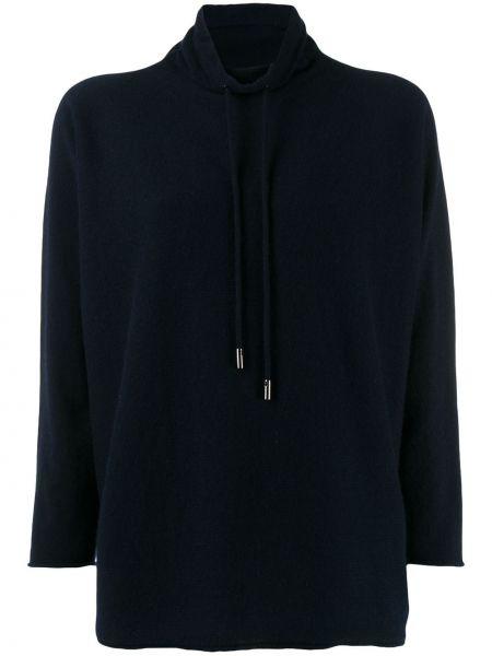 Кашемировый синий свитер с капюшоном свободного кроя Lamberto Losani