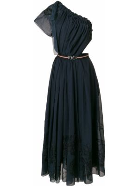 Шелковое синее платье миди на одно плечо Fendi