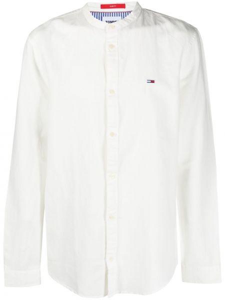 Хлопковая белая джинсовая рубашка с воротником-стойка Tommy Jeans