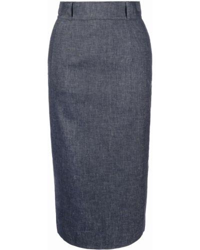 С завышенной талией синяя юбка миди с карманами Paul Smith