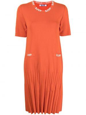 Платье макси с длинными рукавами - оранжевое Sjyp