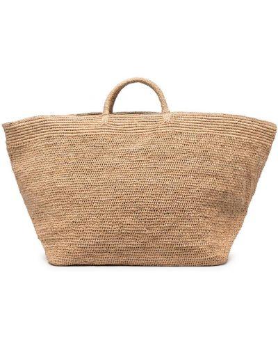 Prążkowana brązowa torba na ramię oversize Ibeliv