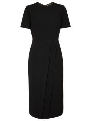 Czarna sukienka midi z wiskozy Roland Mouret