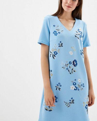 Платье голубой осеннее Zarina