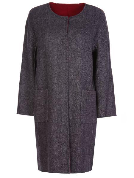 Шерстяное серое пальто на кнопках двустороннее Gerard Darel