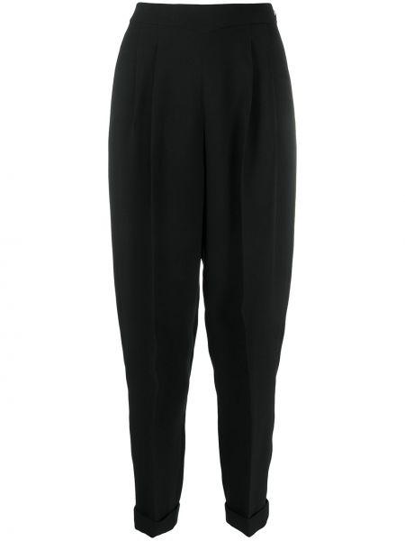 Czarne spodnie z wysokim stanem z wiskozy Delpozo