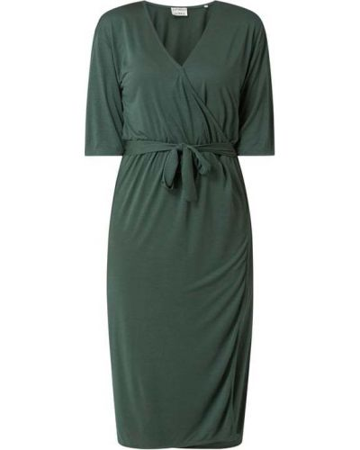Zielona sukienka kopertowa z dekoltem w serek Catwalk Junkie