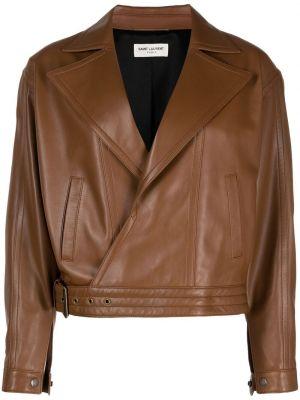 Кожаная куртка оверсайз - коричневая Saint Laurent