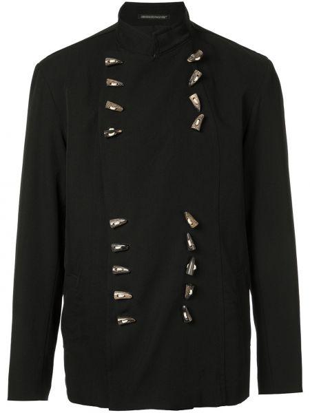 Прямой черный пиджак с воротником винтажный Yohji Yamamoto Pre-owned