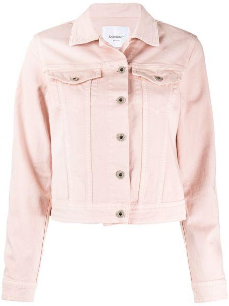 Джинсовая куртка длинная розовая Dondup