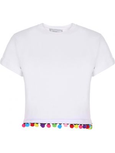 Хлопковый белый топ с помпоном с круглым вырезом Forte Couture
