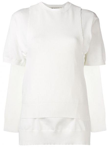 Prążkowana biała kamizelka krótki rękaw Comme Des Garcons