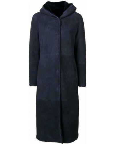 Синее длинное пальто с капюшоном Liska