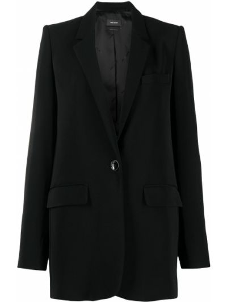 С рукавами черный удлиненный пиджак оверсайз Isabel Marant