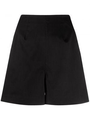Однобортные черные короткие шорты с карманами L'autre Chose