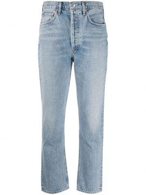 Bawełna niebieski jeansy do kostek z kieszeniami chudy Agolde