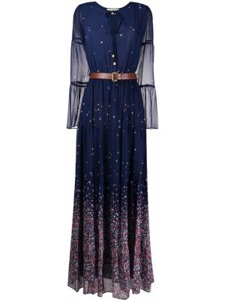 Платье с поясом с цветочным принтом с прозрачными рукавами Michael Michael Kors