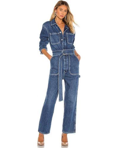 Хлопковый синий джинсовый комбинезон с карманами Hudson Jeans