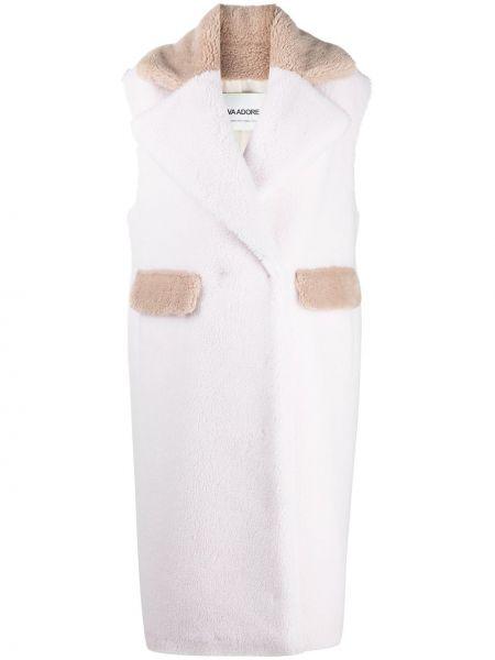 Шерстяное белое длинное пальто без рукавов Ava Adore