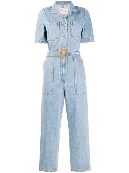 Джинсовый комбинезон с шортами с открытыми плечами Nanushka