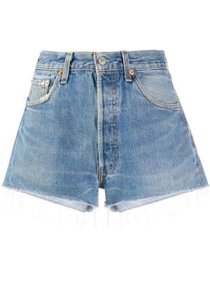 Джинсовые шорты с завышенной талией - синие Re/done