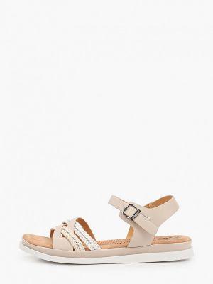 Бежевые кожаные сандалии Inario