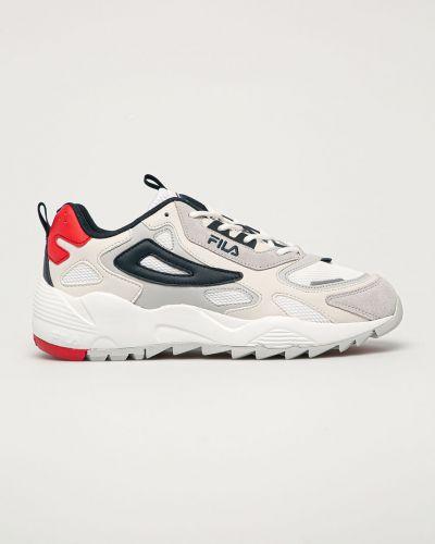 Białe sneakersy skorzane sznurowane Fila