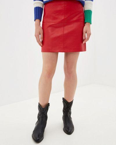 Джинсовая юбка кожаная красный Pepe Jeans