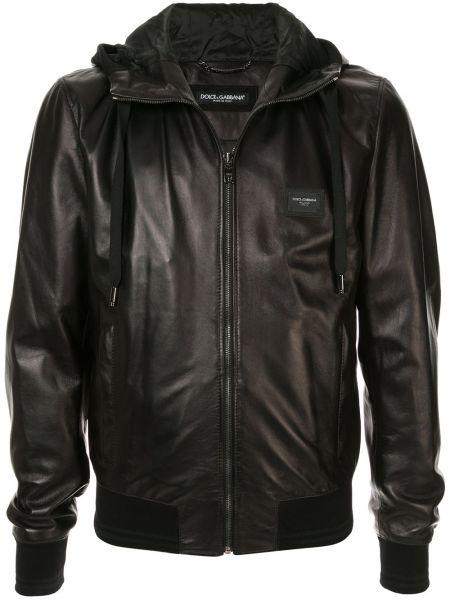 Черная кожаная куртка с капюшоном Dolce & Gabbana