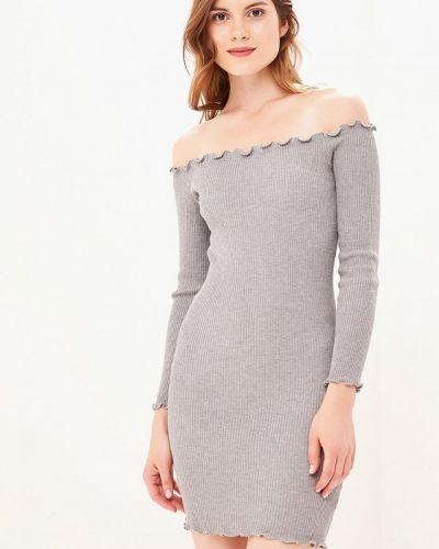 Платье серое с открытыми плечами Zeza