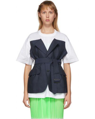 Рубашка с коротким рукавом белая без воротника Junya Watanabe