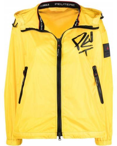 Желтая длинная куртка с капюшоном с длинными рукавами Peuterey