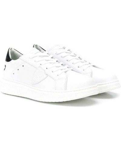 Белые кроссовки с перфорацией на каблуке на шнуровке Philippe Model Kids
