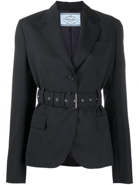 Однобортный черный удлиненный пиджак с поясом Prada Pre-owned