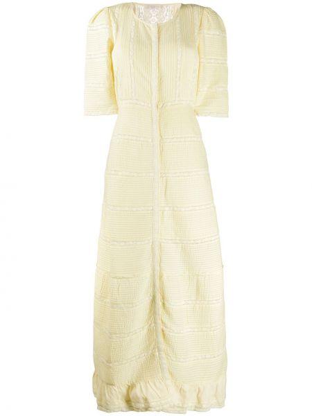 Желтое платье мини с вырезом с короткими рукавами с декоративной отделкой Loveshackfancy