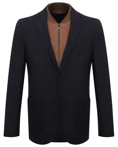 Кожаный синий пиджак с подкладкой Corneliani