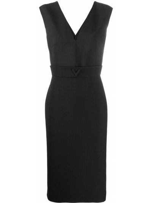 Шелковое черное платье миди с вырезом Valentino