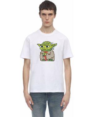 Biały t-shirt bawełniany z printem 8-bit By Mhrs