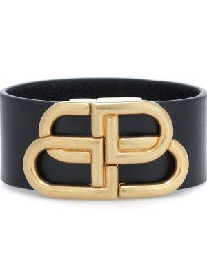 Черный кожаный браслет Balenciaga