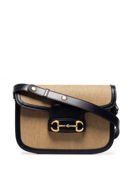 Z paskiem czarny skórzana torebka z prawdziwej skóry Gucci