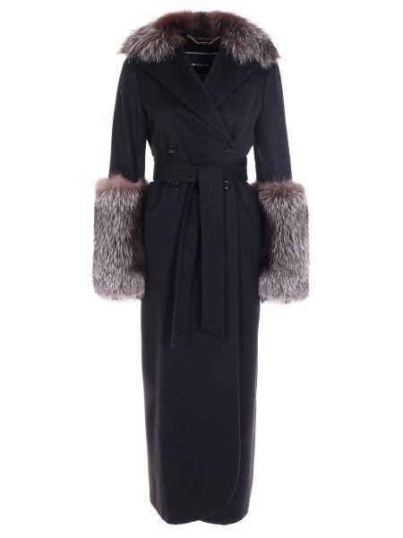 Серое пальто с воротником из лисы с поясом Kiton