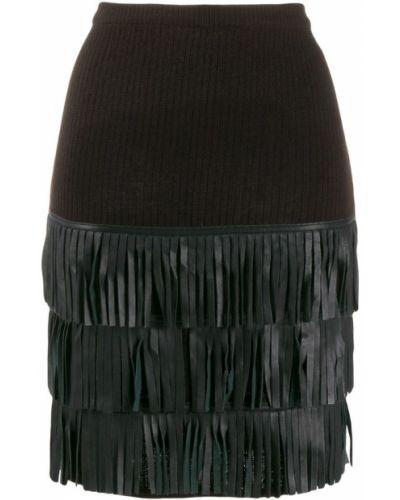Кожаная юбка вязаная с завышенной талией Yves Saint Laurent Pre-owned